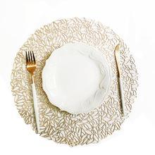 38*38cm Placemat Kitchen Table Mat Christmas Simulation PVC Table Mat Decor Table Decoration Accessories Mats Silver/Gold