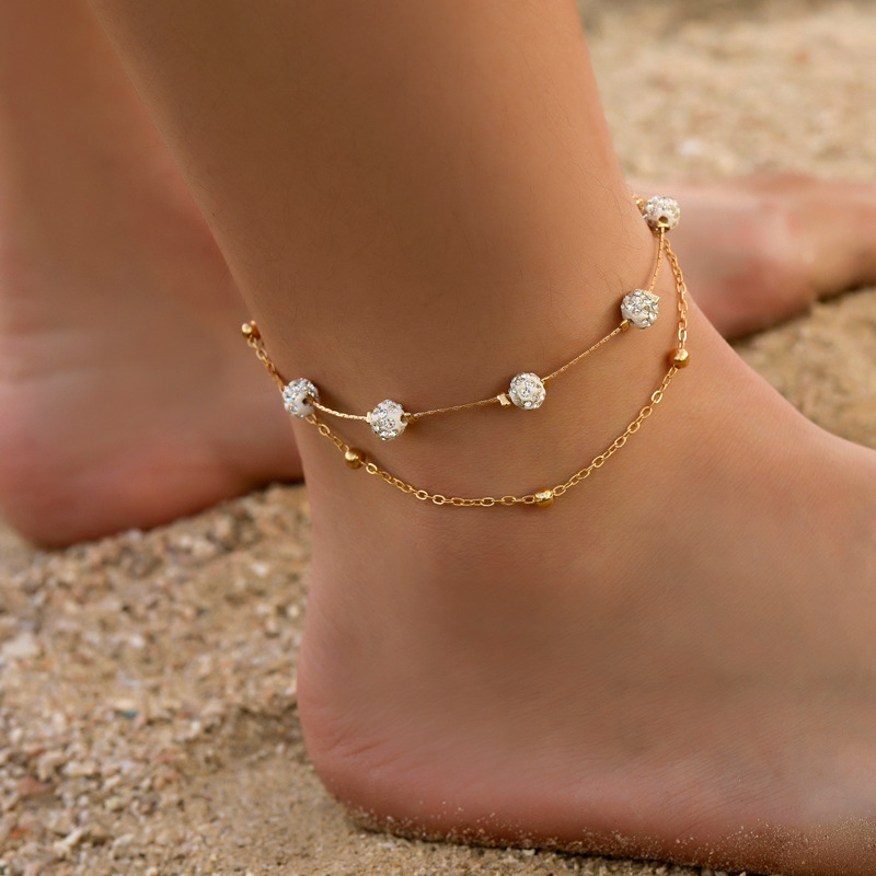 Gold Color Round Beaded Bohemian Anklet For Women Accessories Gold Layers Leaf Barefoot Sandals Foot Leg Bracelet Jewelry Gift