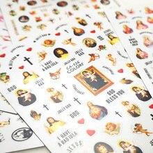 1Pc 성모 마리아 예수 그리스도 3D 네일 천사 큐피드 스티커 다채로운 종교 시리즈 자기 접착 스티커 장식