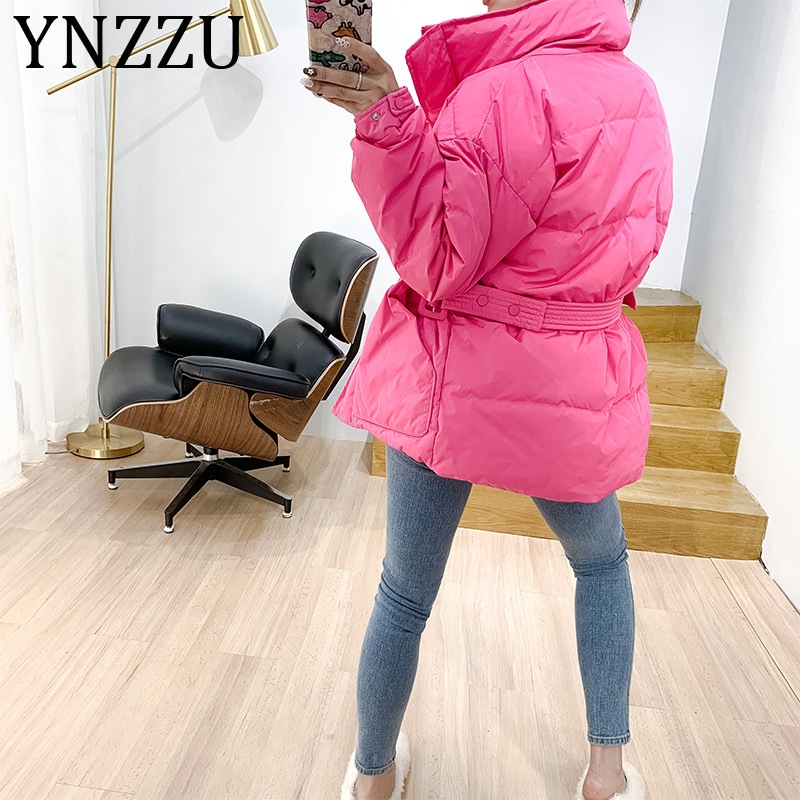 YNZZU 2019 Winter New Women's 80% White Duck   Down     Coat   Candy Color Slim Stand Collar Windproof Female Jacket Warm Outwear A1188
