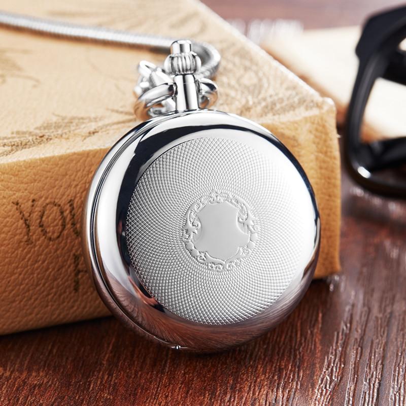 Vintage Silver Mechanical Pocket Watch Men Women Fob Chain Exquisite Sculpture Copper Automatic Retro Pocket Watch Gift