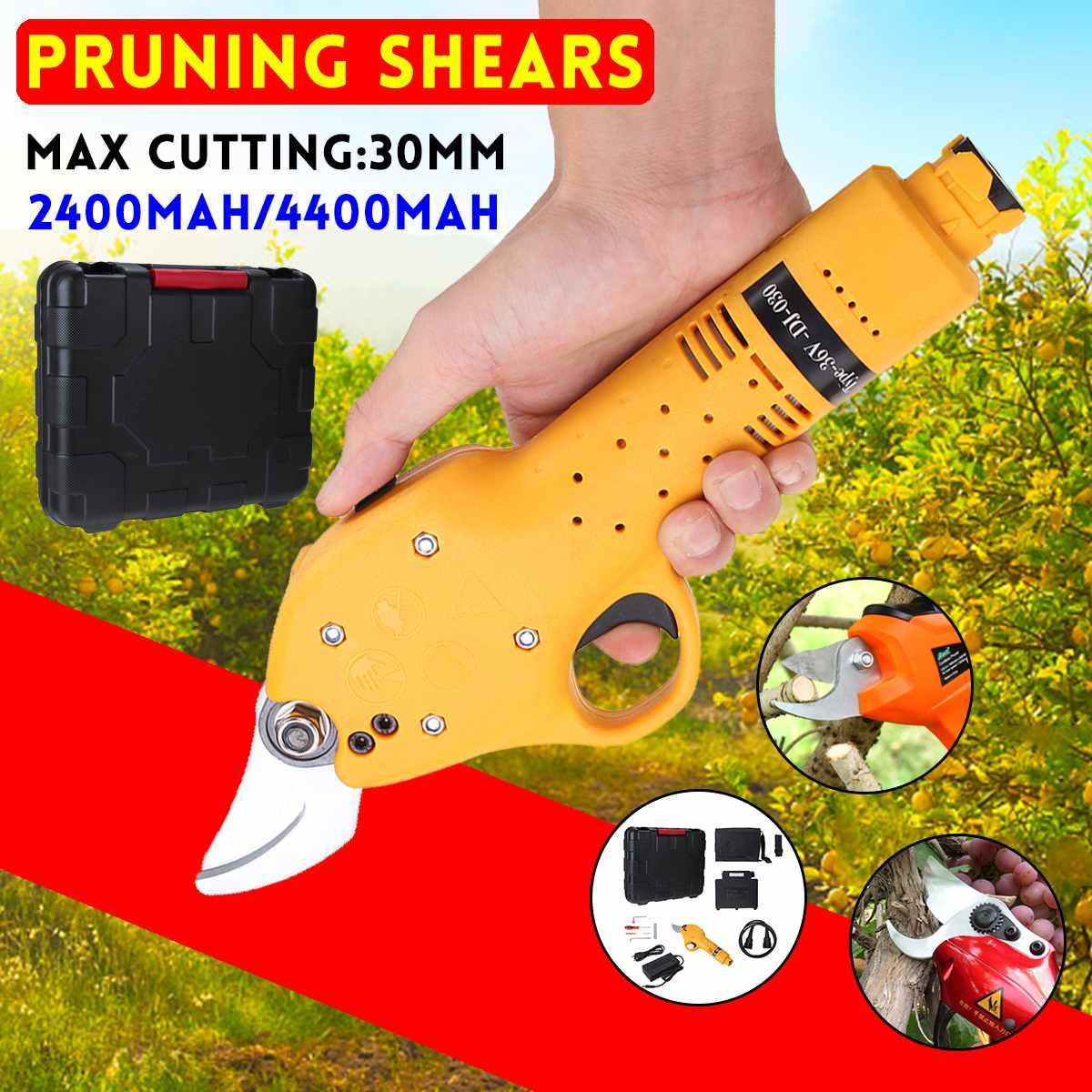 36V Electric Pruning Scissors Cordless Pruning Shears Garden Pruner Secateur Branch Cutting Tool 2400mAh/4400mAh Lithium Battery