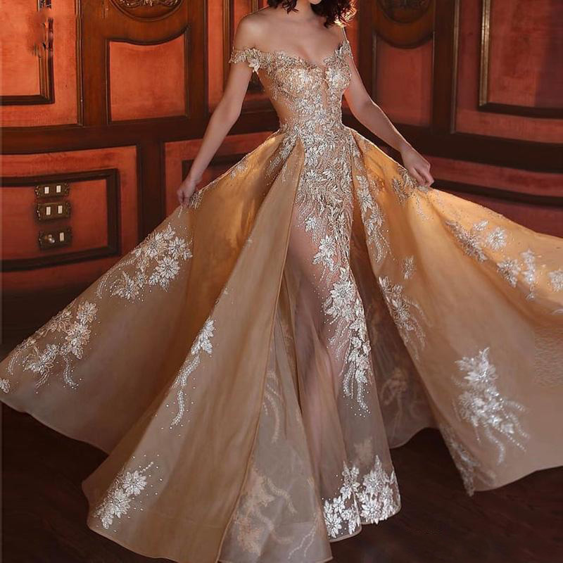Champagne Mermaid   Prom     Dresses   Off the Shoulder V Neck Appliques Beaded Organza Illusion Evening Gowns Detachable Train