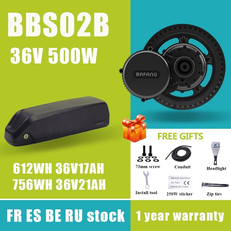 Комплект для переоборудования велосипеда Bafang BBS02B BBS02, 36 В, 500 Вт, средний приводной двигатель 8fun, 36 В, 17 а/ч, 21 а/ч, литиевая батарея 18650