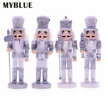 Myblue 4 шт/компл 24 см Деревянный Блестящий серебряный Щелкунчик