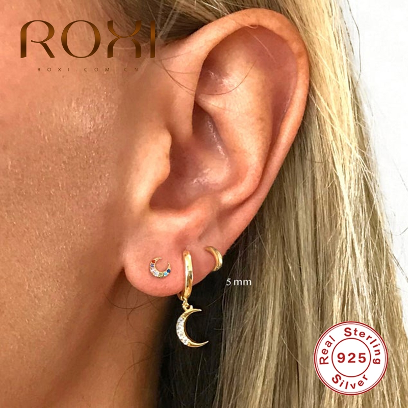 ROXI Vintage Glossy Geometry Round Circle 925 Sterling Silver Earrings for Women Kolczyki Damskie Hoop Earring Pendientes Mujer