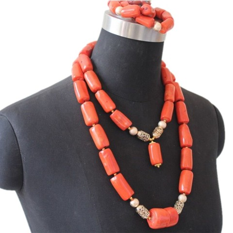 Conjunto de Jóias para o Casamento Conjunto com Divisor de Ouro Ujewelry Contas Coral Originais Tradicional Nigeriano 2 Camadas Colar Dubai 4 100%