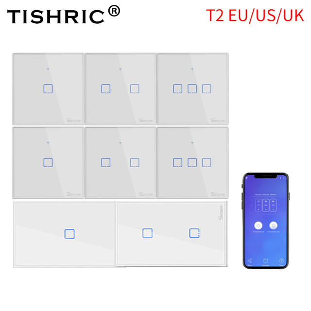 SONOFF T2 EU/US/UK TX 스마트 라이트 벽 스위치 소켓 패널 터치/Wifi/433mhz/Eweilink/RF/APP 무선 원격 제어 Google 홈