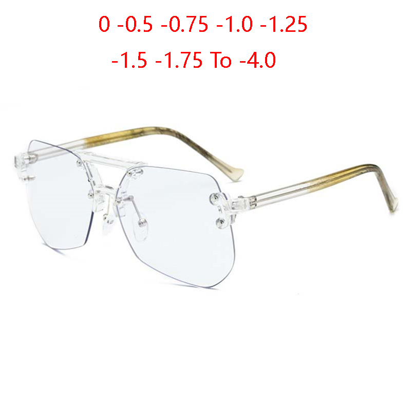 Rimless Prescription Eyeglasses Women Big Lens Anti-blue Light Myopia Optical Spectacle Diopter 0 -0.5 -1.0 -1.5 To -4.0