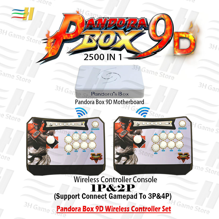 Pandora Box 9d Wireless Console Joystick Button Controller Arcade Game 2500 In 1 Have 3d Game Plug And Play 3P 4P Zero Delay