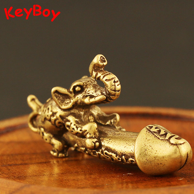 Solid Brass Elephant Male Genitalia Keychain Pendant Car Man Penis Pendants Key Chain Ring Hanging Funny Gift Jewelry Desk Decor