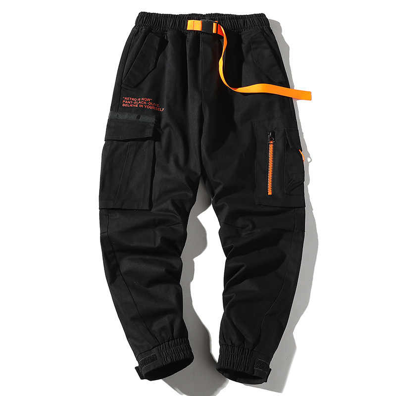 Man Pants autumn New Fashion Streetwear Side pocket Joggers trousers Hip Hop Pants Men Elastic Waist Loose Cargo Pants