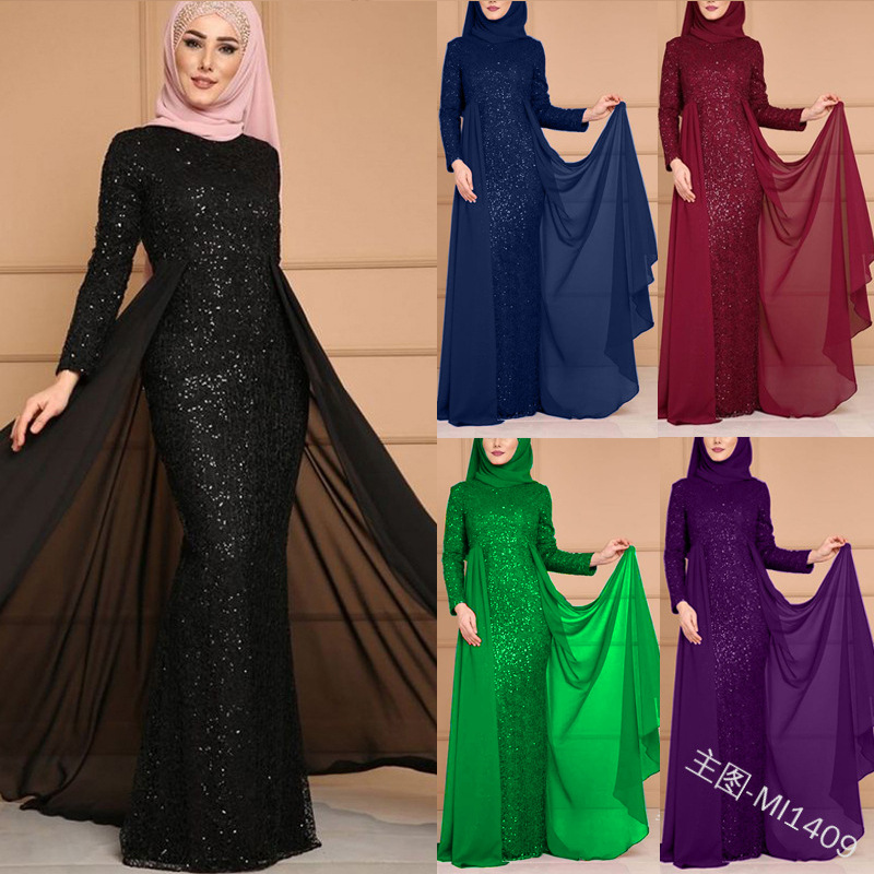 Élégant musulman paillettes Abaya Robe complète Vestidos soirée Cardigan Kimono longue Robe robes Jubah moyen-orient Eid Ramadan islamique