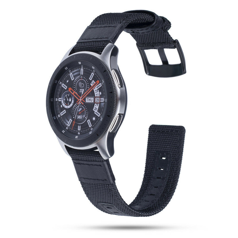 for Galaxy Watch 46mm band 22mm Premium Nylon with Leather Strap for <font><b>Samsung</b></font> Gear <font><b>S3</b></font> <font><b>Frontier</b></font>/Classic <font><b>smartwatch</b></font> wrist bands image