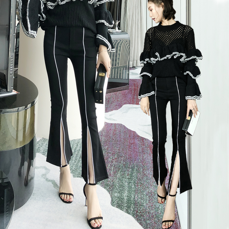 Spring and autumn new leggings Han Fan split flared   pants   high waist   wide     leg     pants   female nine   pants   black