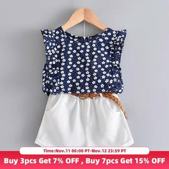 Bear Leader 2020 New Summer Casual Children Sets Flowers Blue T shirt Pants Girls Clothing Sets