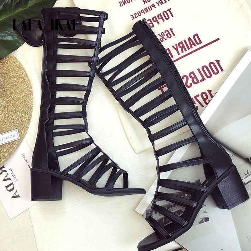 LALA IKAI moda 2020 yaz kadın gladyatör sandalet seksi uzun çizmeler Peep Toe Hollow üzerinde diz çizmeler yüksek topuklu XWC6772-4