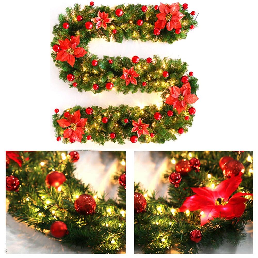 Рождественская гирлянда из ротанга с бантами, светодиодный зеленый свет, 270 см