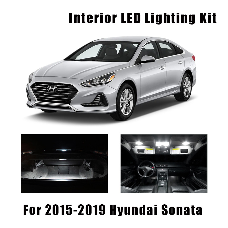 11 Bulbs White LED Car Map Dome Ceiling Light Interior Kit For 2015-2017 2018 2019 Hyundai Sonata Trunk Cargo License Plate Lamp