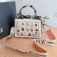 Роскошная модная женская сумочка со стразами 2020 Кожаная мини