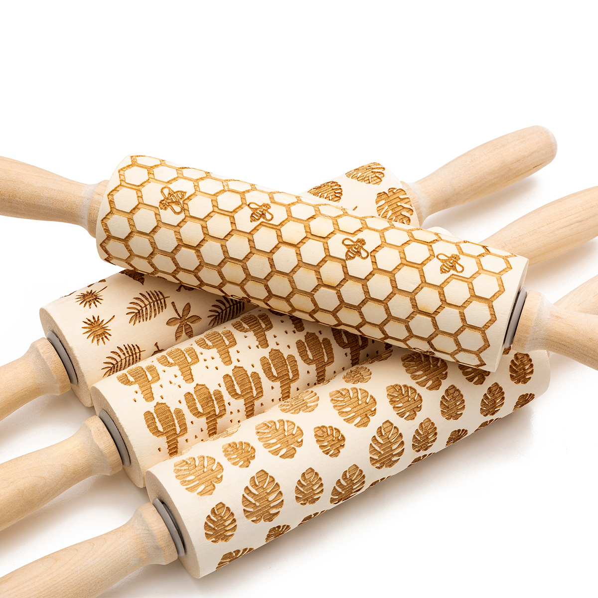 Hardwood Embossing Rolling Pin Perfect for decorating Fondant Cake and Cookie 21