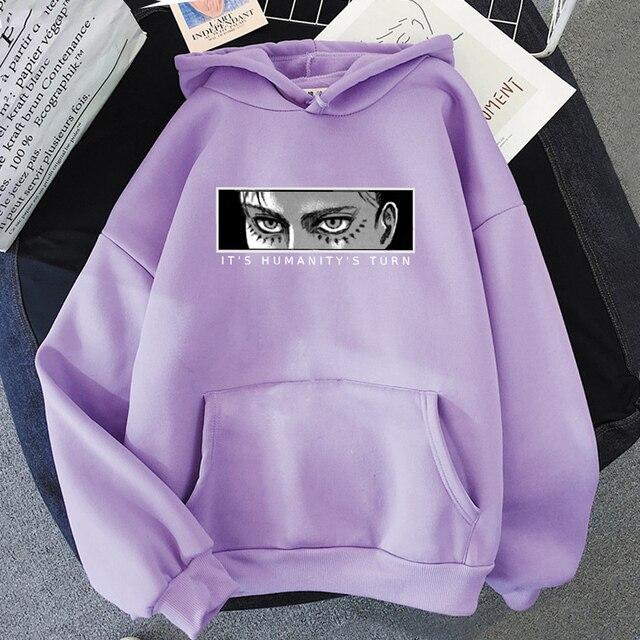 Anime Attack on Titan Hoodie Eren Yeager Print Classic Sweatshirts Funny Cartoon Harajuku Womens Mens Hip Hop Streetwear Jacket 5