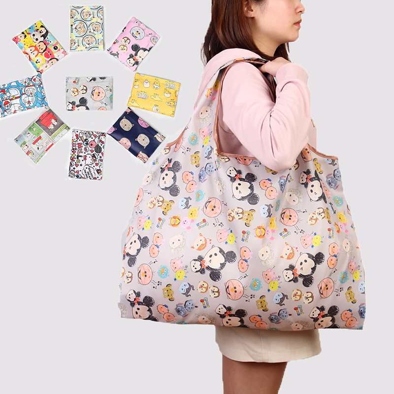 Eco Friendly Portable Tote Grocery Pouch Bags Large Size Washable Shopping Handbag Cartoon Travel Folding Reusable Shoulder Bag