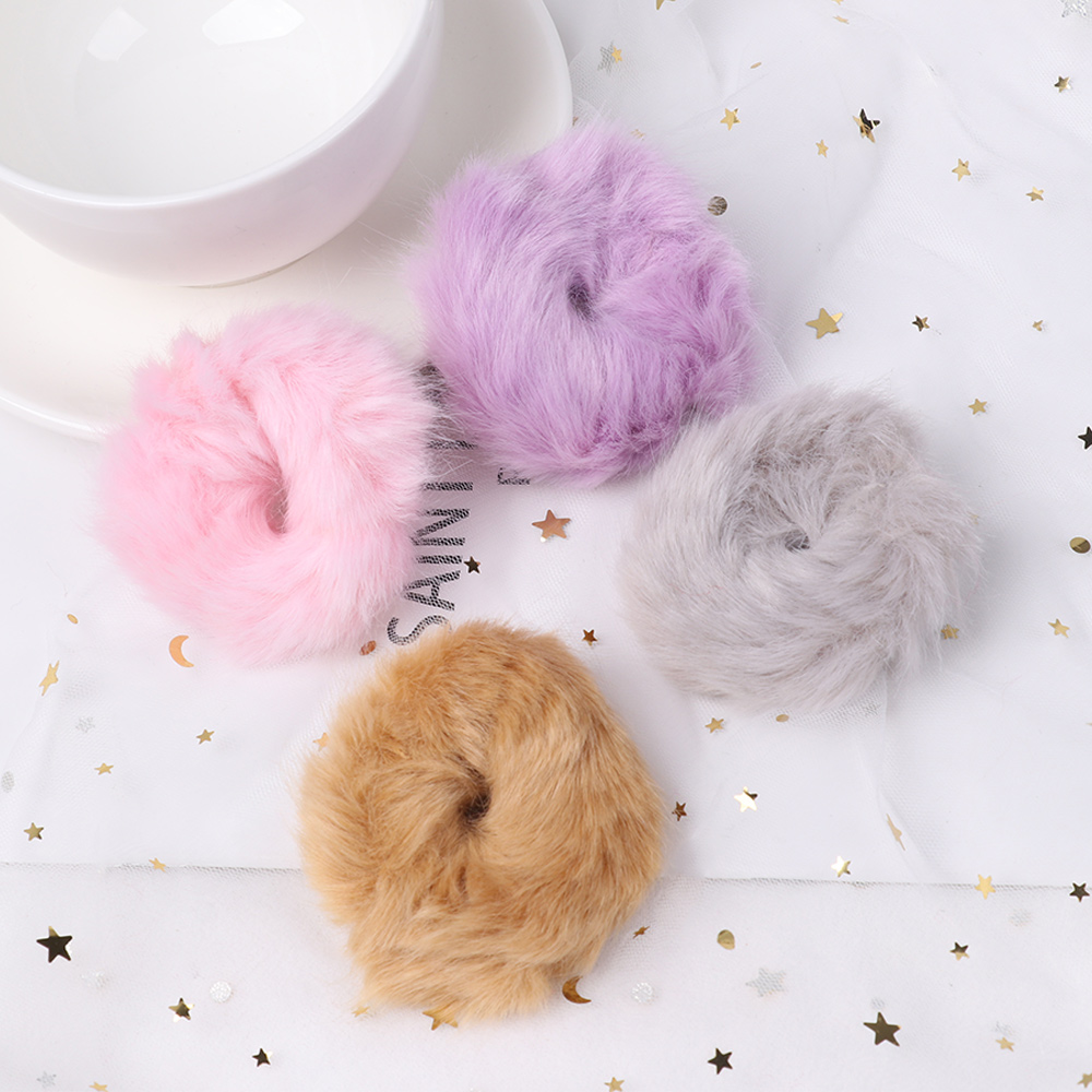 Girls Cute Plush Fuzzy Rabbit Hair Rope Elastic Headdress Ring Band Accessories