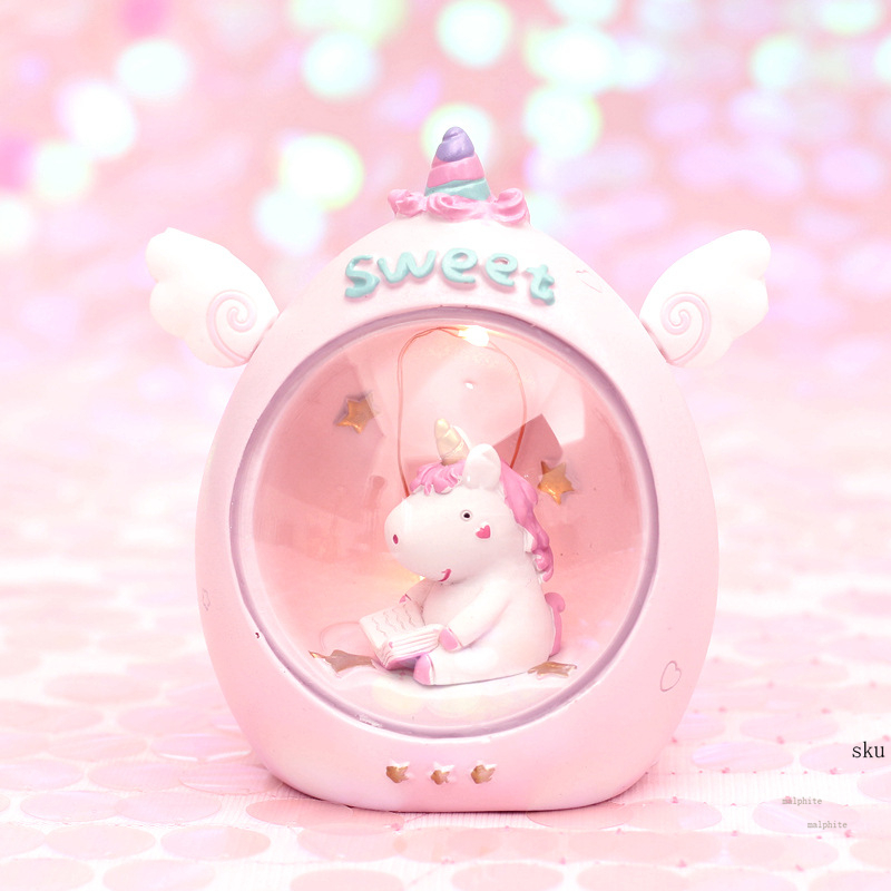 Nordic Cartoon Night Light Girls Room Decor Pink Unicorn Starlight Moon Lamp Illuminator Student Gift Night Lamp Luminaria