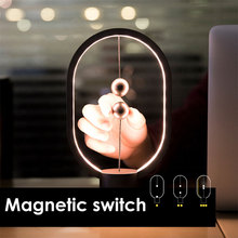 Mini Magnetic Switch Heng Balance Lamp Dropshipping LED Mid-air Switch USB Night Light Ellipse Bedroom Decor Desk Kid Gift Lamp