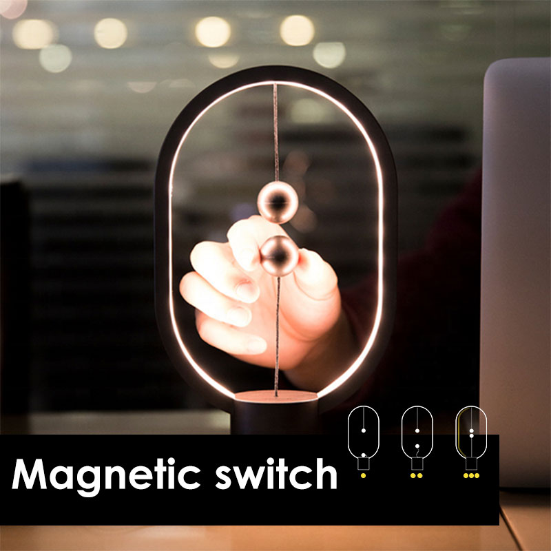 Mini Table Lamp Magnetic Switch Balance Dropshipping LED Mid-air Switch USB Night Light Ellipse Bedroom Decor Desk Kid Gift Lamp