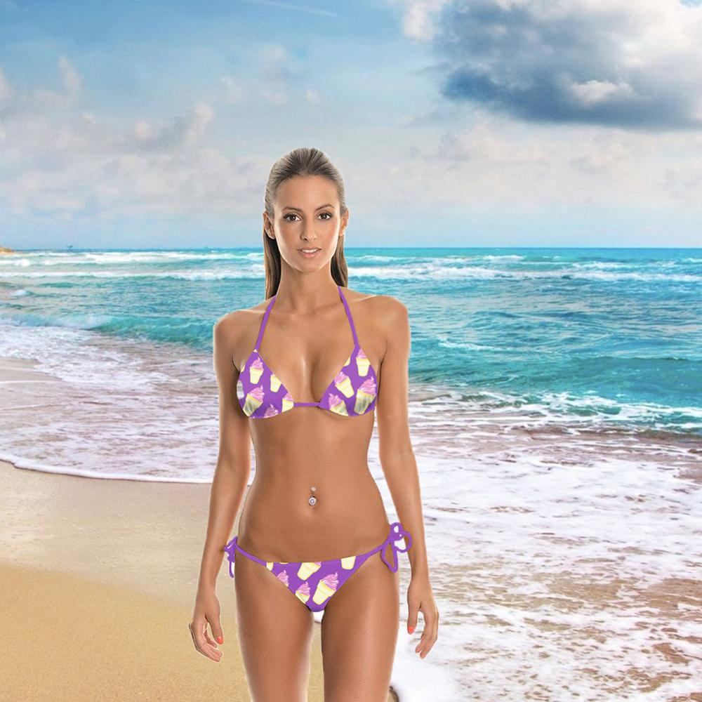 MANBEIQI Two Piece Swimwear Summer Beachwear Push-Up Padded Bra Set Halter Bikini Swimsuit Mid Waisted Bottom Beachwear Sexy