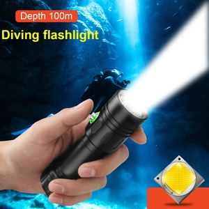 Image 1 - أقوى المهنية الغوص مصباح ليد جيب 100 متر مصباح تحت الماء الغوص الشعلة قابلة للشحن Xm L2 مصباح يدوي 26650 18650