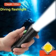 ほとんどの強力なプロフェッショナルダイビングled懐中電灯100メートル水中ライトスキューバダイビングトーチ充電式xm L2ハンドランプ26650 18650