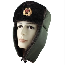 WZCX Soviet Military Badge Pilot Trapper Trooper Hat Keep Warm Cold Protection T