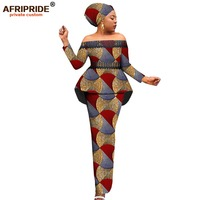 Afripride African Print 2 Pieces Skirt Suit for Women Tailor Made Slash Neck Top+Floor Length Pencil Skirt+ Head Wrap A1926011