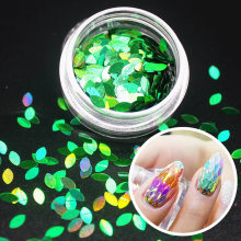 1Pcs DIY Green Leaf Form Nagel Glitter Set Pulver Laser Sparkly Maniküre Nail art Pigment Silber DIY Nagel Kunst dekoration Kit(China)