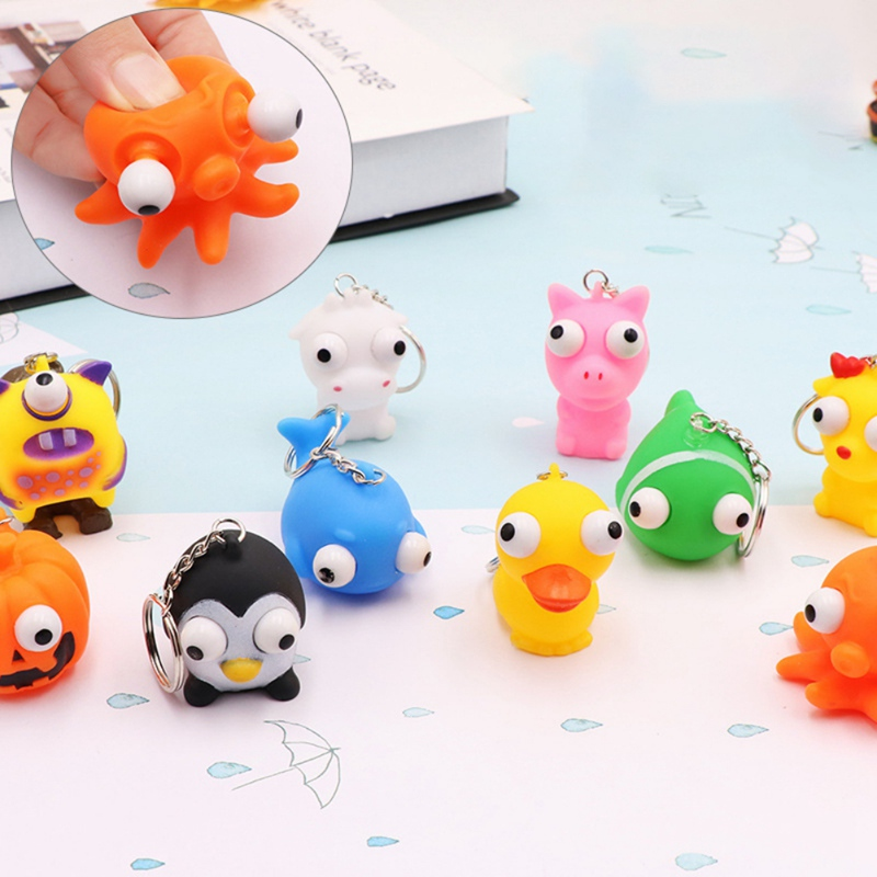 Cartoon Animal Eye Popping Squeeze Toy Keychain Anti Stress Fidget Hand Toys For Kids Gifts