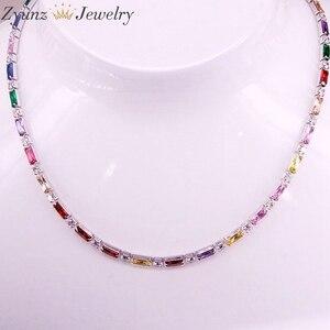 Image 2 - 5 pçs, cz corrente colar feminino gargantilha colorido cz cristal zircônia ouro/prata cor colar para mulher