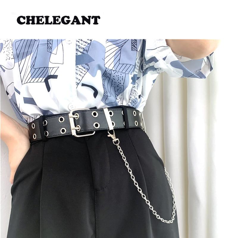 CHELEGANT New Belt For Women PU Leather Pin Grommet Belt Punk Wind Jeans Fashion Individual Decorative Chain Women Belt