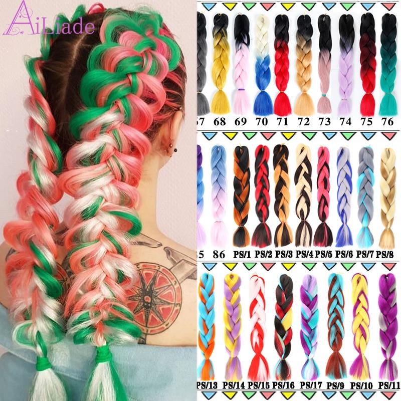 AILIADE  Pink 24Inch Jumbo Box Braids Hair Bundle Crochet Hair Extensions Ombre Synthetic Kanekalon Braiding Black Bulk Women