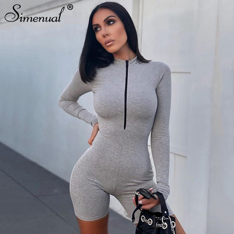 Simenual Zipper Ribeed Casual Skinny Biker Shorts Playsuits Women Long Sleeve Fashion Sporty Casual Active Wear Bodycon Rompers