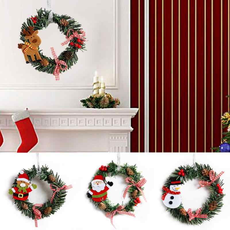 1pcs Merry Christmas Tree Ornament for Home Decoration Navidad Garland Wreath Rattan Ring for Wall Door Hanging Xmas Party Decor
