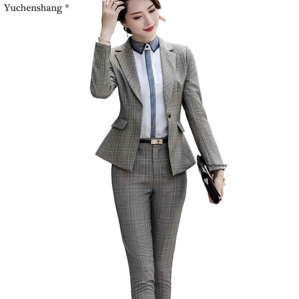 高品質グレーアプリコットチェック柄女性パンツスーツプロに設定されたオフィス女性ホテルインタビュー作業服