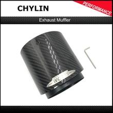 Silenciador de fibra de carbono y Cromo Negro, punta de escape para Mini Cooper, R55, R56, R57, R58, R59, R60, R61, F54, F55, F56, F57, F60