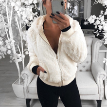 2019 New Faux Fur Coat Hooded Fashion Slim Rabbit  Jackets Warm Long Sleeve Female Outerwear Autumn Winter Short D25