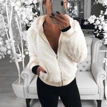2019 New Faux Fur Coat Hooded Fashion Slim Rabbit  Fur Jackets Warm Long Sleeve Female Outerwear Autumn Winter Short Coat D25 стоимость