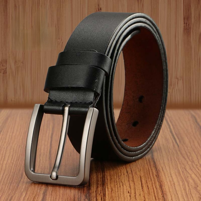 New Men's Fashion Casual Belts Cowhide Leather Pin Buckle Fashion Men Youth Business Alloy Plate Buckle Trouser Jeans Belts