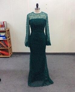 Image 3 - Uzun abiye dantel 2020 Mermaid tam inciler kristal uzun kollu arapça resmi parti elbise gece elbisesi ünlü elbiseleri