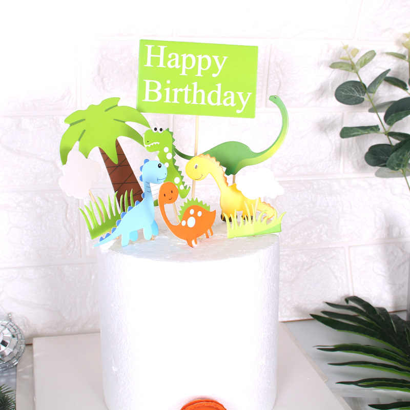 Cakelove ไดโนเสาร์น่ารักเค้ก Topper มะพร้าวต้นไม้มีความสุขวันเกิดเค้กตกแต่งสีเขียวหญ้าเด็กอุปกรณ์เค้กอุปกรณ์เสริม